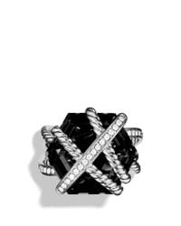 David Yurman | Metallic Cable Wrap Ring With Black Onyx | Lyst