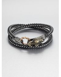 John Hardy | Black Braided Wrap Sterling Silver Bracelet | Lyst