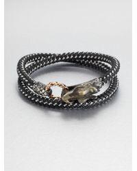 John Hardy | Black Braided Wrap Sterling Silver Bracelet for Men | Lyst