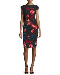 Maggy London - Multicolor Embroidered Floral Crepe Sheath Dress - Lyst