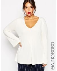 Asos Curve | Natural Clean Tunic With V Neck & Long Sleeves | Lyst