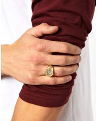 ASOS - Metallic Signet Ring with Textured Surface for Men - Lyst