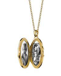 Monica Rich Kosann - Metallic 18k Gold Diamond-striped Ceramic Locket Necklace - Lyst
