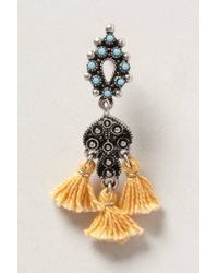 Anthropologie | Orange Crestone Tassel Earrings | Lyst