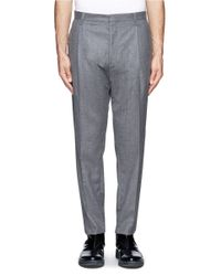 Lanvin - Gray Tapered Flannel Pants for Men - Lyst