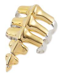 Noir Jewelry - Black Vertebrae Two-Tone Cuff Bracelet - Lyst