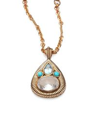Stephen Dweck | Metallic Blue Topaz, Turquoise & Crystal Pear Pendant Necklace | Lyst