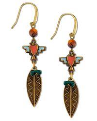 Tru. - Metallic Gold-tone Multicolor Feather Drop Earrings - Lyst