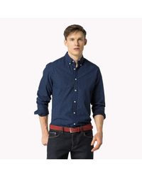 Tommy Hilfiger | Blue Cotton Printed Fitted Shirt for Men | Lyst