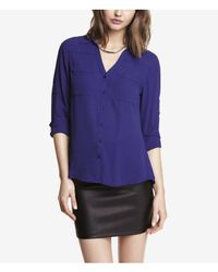 3889a283a75b0 Lyst - Express The Convertible Sleeve Portofino Shirt in Purple
