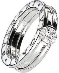 BVLGARI | Metallic B.Zero1 18Ct White-Gold And Diamond Solitaire Ring - For Women | Lyst