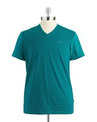 Calvin Klein | Blue Striped V-Neck T-Shirt for Men | Lyst
