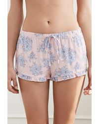Forever 21 - Blue Ruffled Floral Pj Shorts - Lyst