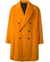 AMI - Yellow Oversized Coat for Men - Lyst