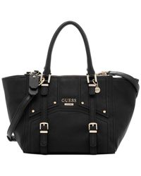Guess - Black Rikki East West Status Satchel Logo Embossed - Lyst