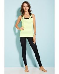Forever 21 | Yellow Burnout Stripe Workout Tank | Lyst