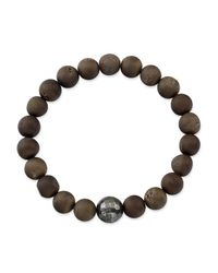 Anne Sisteron - Brown Agate Stretch Bracelet With Pyrite Stone - Lyst
