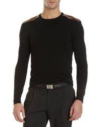 Ralph Lauren Black Label - Black Leather Epaulet Sweater for Men - Lyst