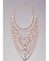 Bebe | Metallic Pearl Bib Necklace | Lyst