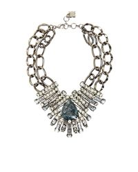 BCBGMAXAZRIA - Blue Teardrop Embellished Double Chain Necklace - Lyst