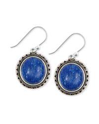 Lucky Brand - Blue Silvertone Lapis Drop Earrings - Lyst