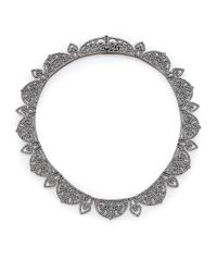 Adriana Orsini | Metallic Statement Pave Crystal Gate All-around Necklace/gunmetal-tone | Lyst