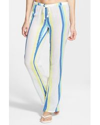 Rip Curl - Yellow 'baja' Stripe Beach Pants - Lyst