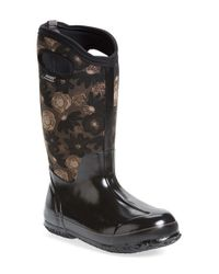 Bogs | Black 'watercolor' Waterproof Snow Boot With Cutout Handles | Lyst