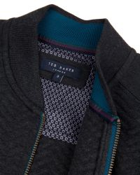 Ted Baker | Gray Deeaz Quilted Herringbone Bomber Jacket for Men | Lyst