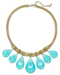 ABS By Allen Schwartz - Blue Gold-tone And Aqua Stone Frontal Necklace - Lyst