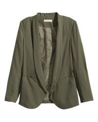 H&M   Green Crêpe Jacket   Lyst