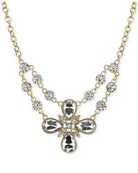 2028 | Metallic Gold-Tone Clear Crystal Flower Necklace | Lyst