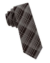 Calvin Klein | Black Abstract Windowpane Tie for Men | Lyst