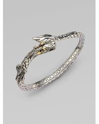 John Hardy | Metallic 18k Yellow Gold Sterling Silver Dragon Bangle Bracelet | Lyst
