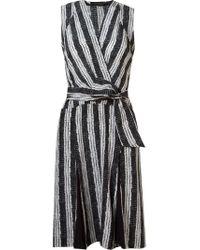 Giuliana Romanno | Black Abstract Print Wrap Midi Dress | Lyst