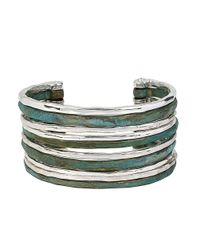 Robert Lee Morris | Blue Patina Colada Hammered Multi-row Cuff Bracelet | Lyst
