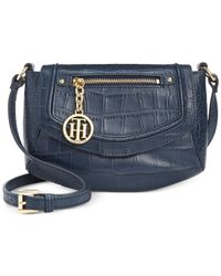 Tommy Hilfiger | Blue Jerry Embossed Leather Crossbody | Lyst