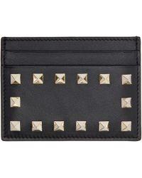 Valentino | Black Leather Rockstud Card Holder | Lyst
