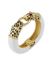 Kenneth Jay Lane | White Leopard Head Bracelet | Lyst