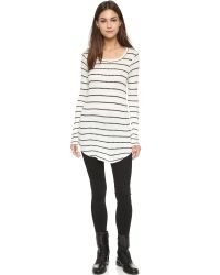 Chaser | Long Sleeve Striped Thermal Tee - Vanilla/black | Lyst