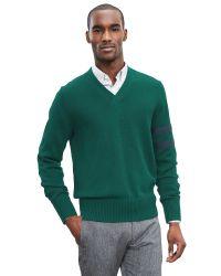 Banana Republic | Green Arm-stripe Vee Pullover for Men | Lyst