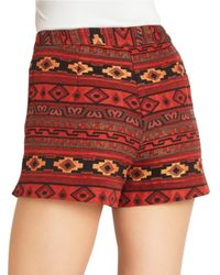 BCBGeneration | Red Jacquard Shorts | Lyst