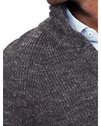 Banana Republic | Gray Ribbed Button-mock Pullover for Men | Lyst
