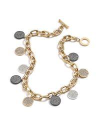 Lauren by Ralph Lauren - Metallic 14k Goldplated Hematitetone Crystal Disc Charm Toggle Necklace - Lyst