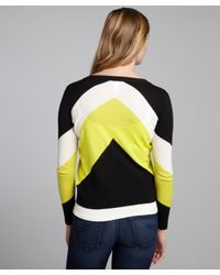 Shae - Black and Neon Yellow Colorblock Cottonlinen Blend Cardigan - Lyst