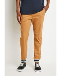 Forever 21 - Natural Varsity Stripe-trimmed Joggers for Men - Lyst