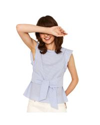 ee8303ce682d Oasis Multi Blue Ticking Stripe Tie Front Tee in Blue - Lyst