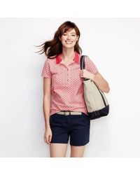 Lands' End - White Cream Women's Slim Fit Short Sleeve Tipped Collar Printed Pique Polo Shirt - Lyst