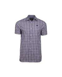 Raging Bull - Blue Big And Tall Short Sleeve Linen Look Check Navy Shirt for Men - Lyst
