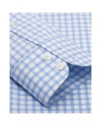 Tm Lewin - Slim Fit Blue Check Poplin Button Cuff Short Sleeve Length Shirt for Men - Lyst
